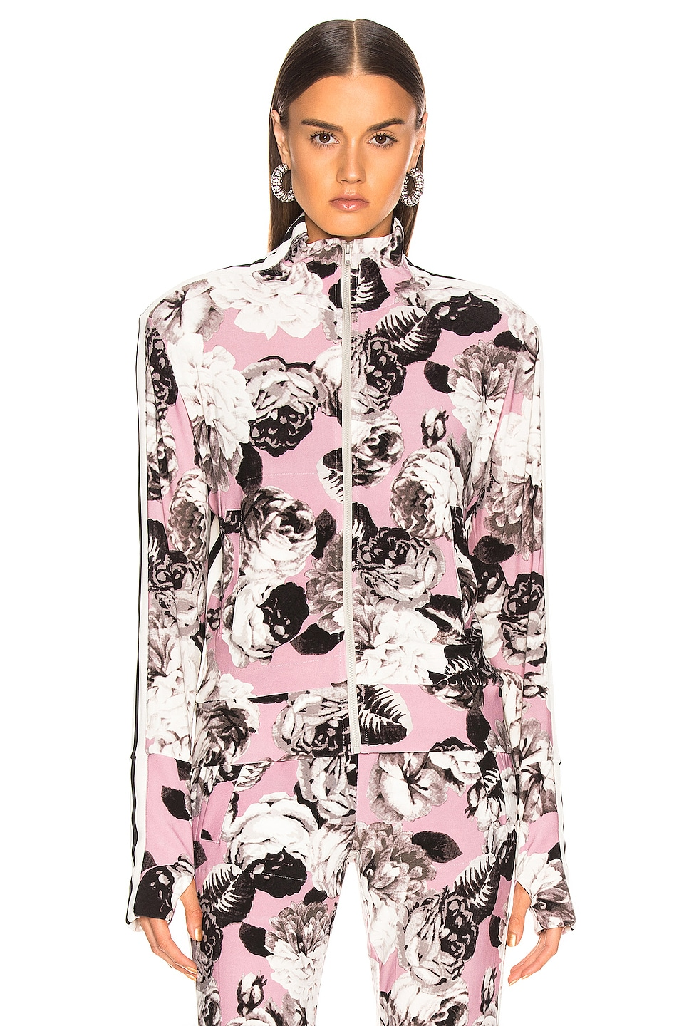 Image 2 of Norma Kamali Side Stripe Turtle Jacket in Pink Peonies