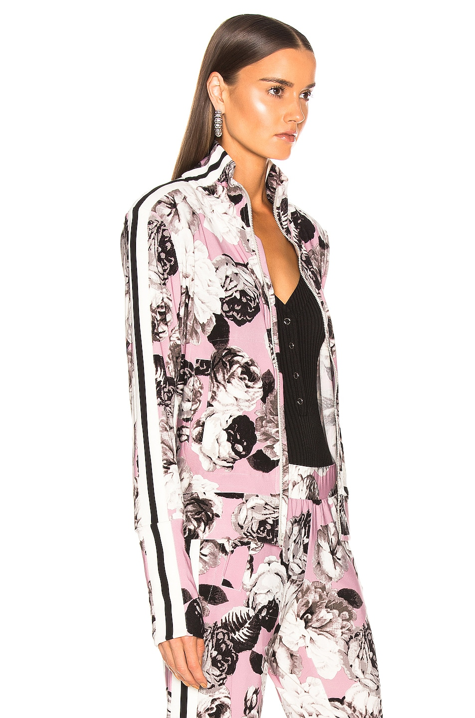 Image 3 of Norma Kamali Side Stripe Turtle Jacket in Pink Peonies
