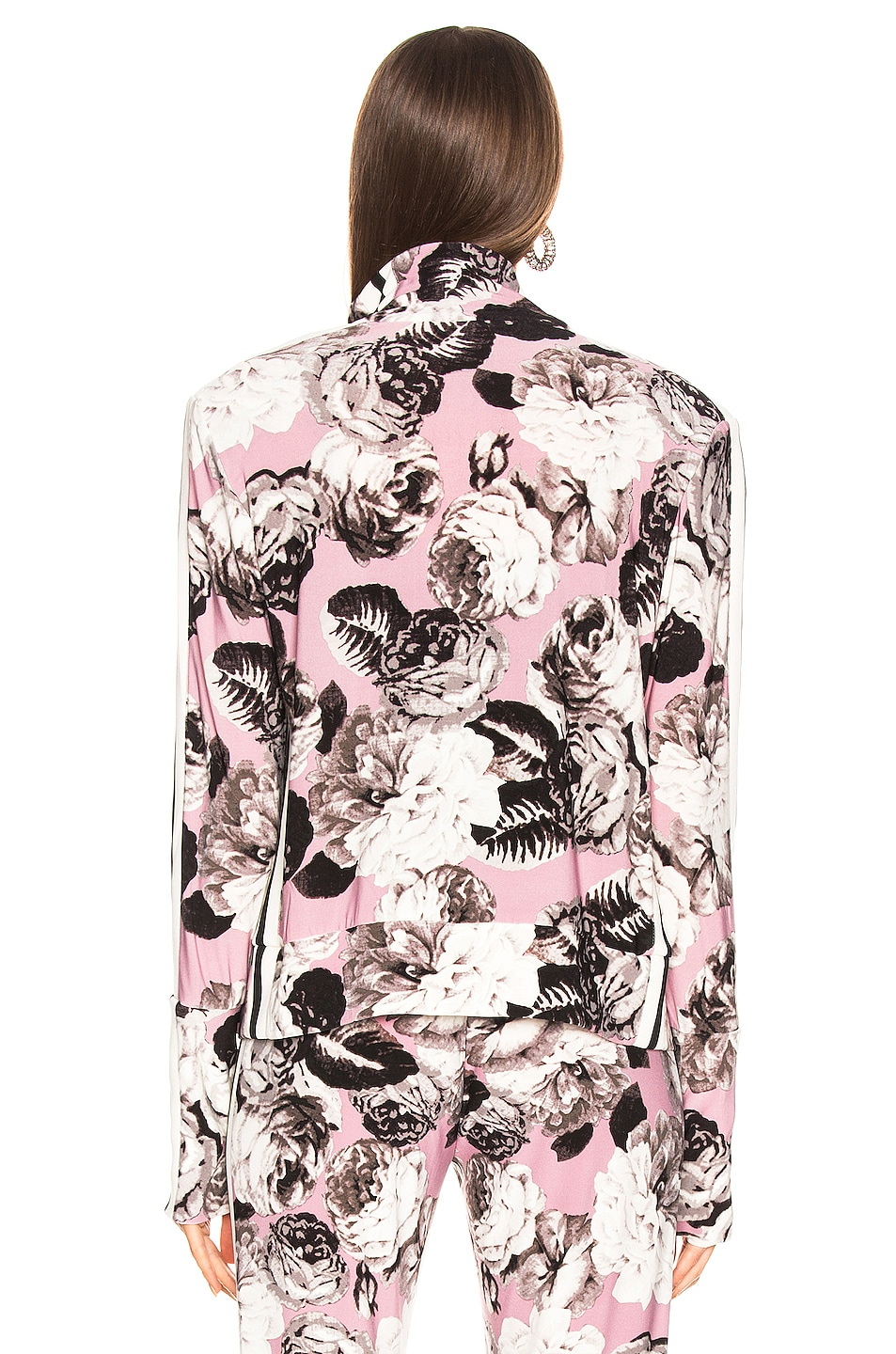 Image 4 of Norma Kamali Side Stripe Turtle Jacket in Pink Peonies