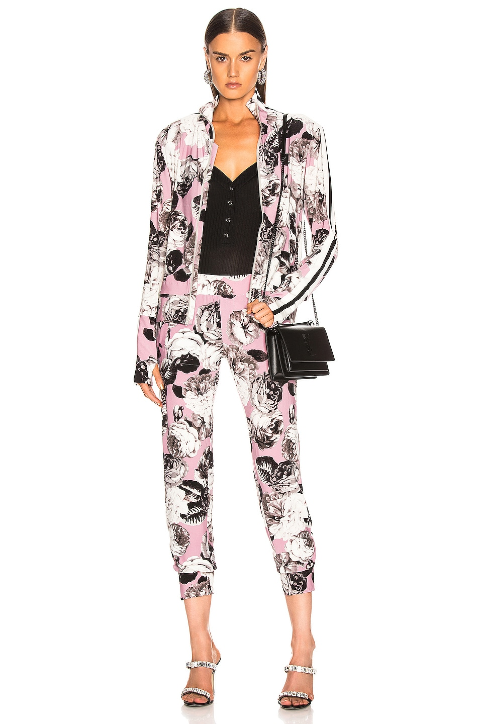 Image 5 of Norma Kamali Side Stripe Turtle Jacket in Pink Peonies