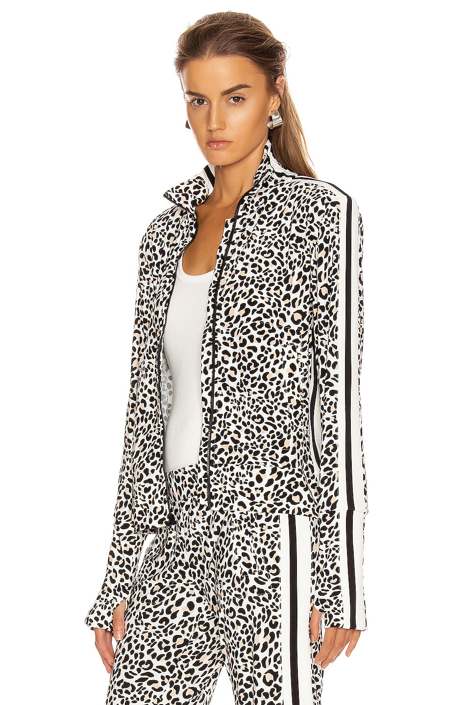 Image 1 of Norma Kamali Side Stripe Turtle Jacket in Baby Leopard & Offset Stripe