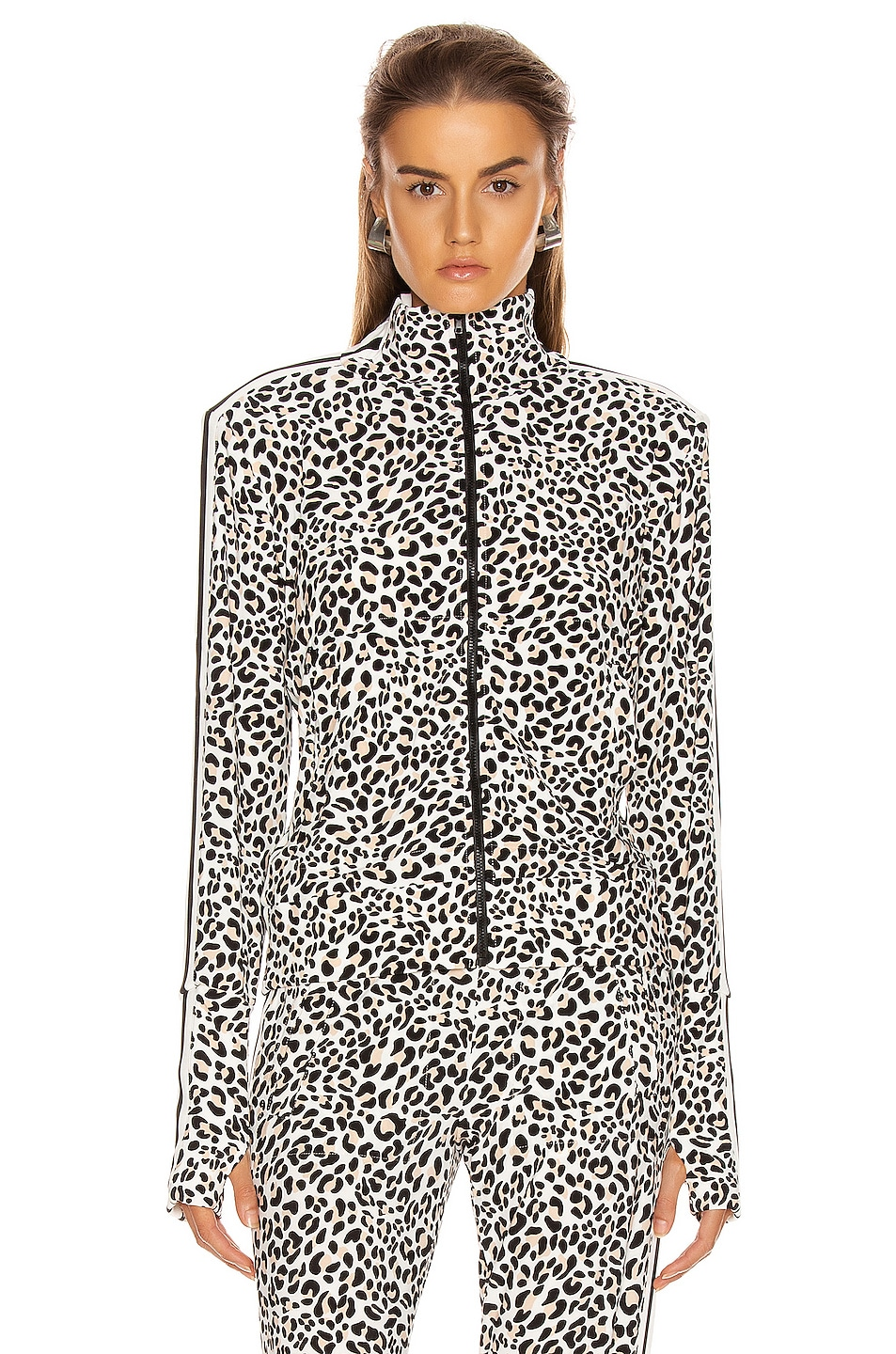 Image 2 of Norma Kamali Side Stripe Turtle Jacket in Baby Leopard & Offset Stripe