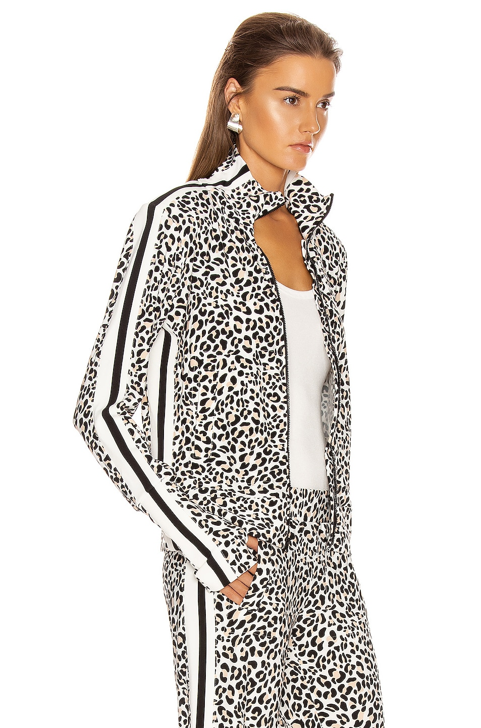 Image 3 of Norma Kamali Side Stripe Turtle Jacket in Baby Leopard & Offset Stripe