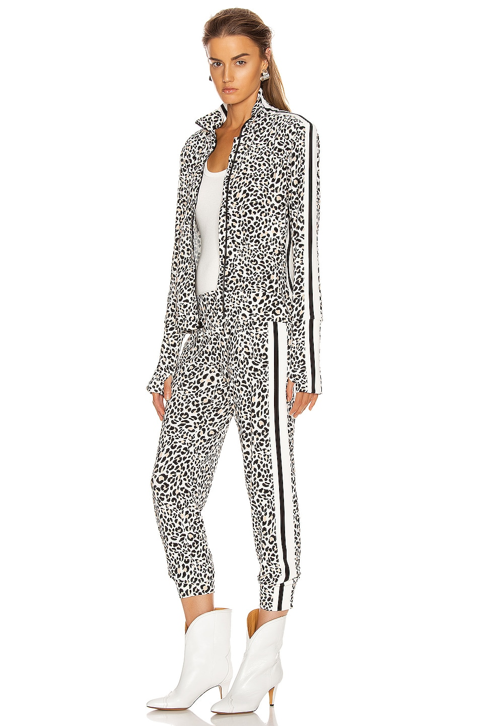 Image 5 of Norma Kamali Side Stripe Turtle Jacket in Baby Leopard & Offset Stripe