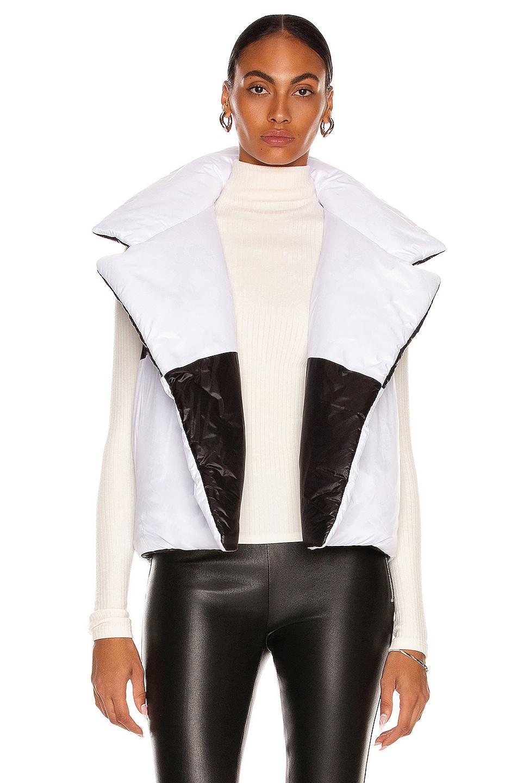 Image 1 of Norma Kamali Spliced Reversible Sleeveless Sleeping Bag Vest in Black & White