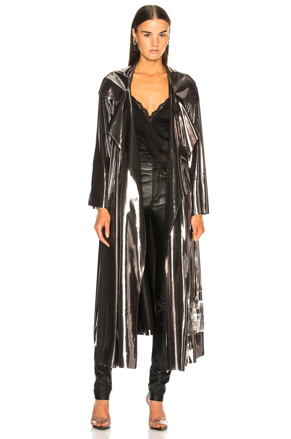 Image 1 of Norma Kamali Dolman 80's Flared Midcalf Trench in Gunmetal
