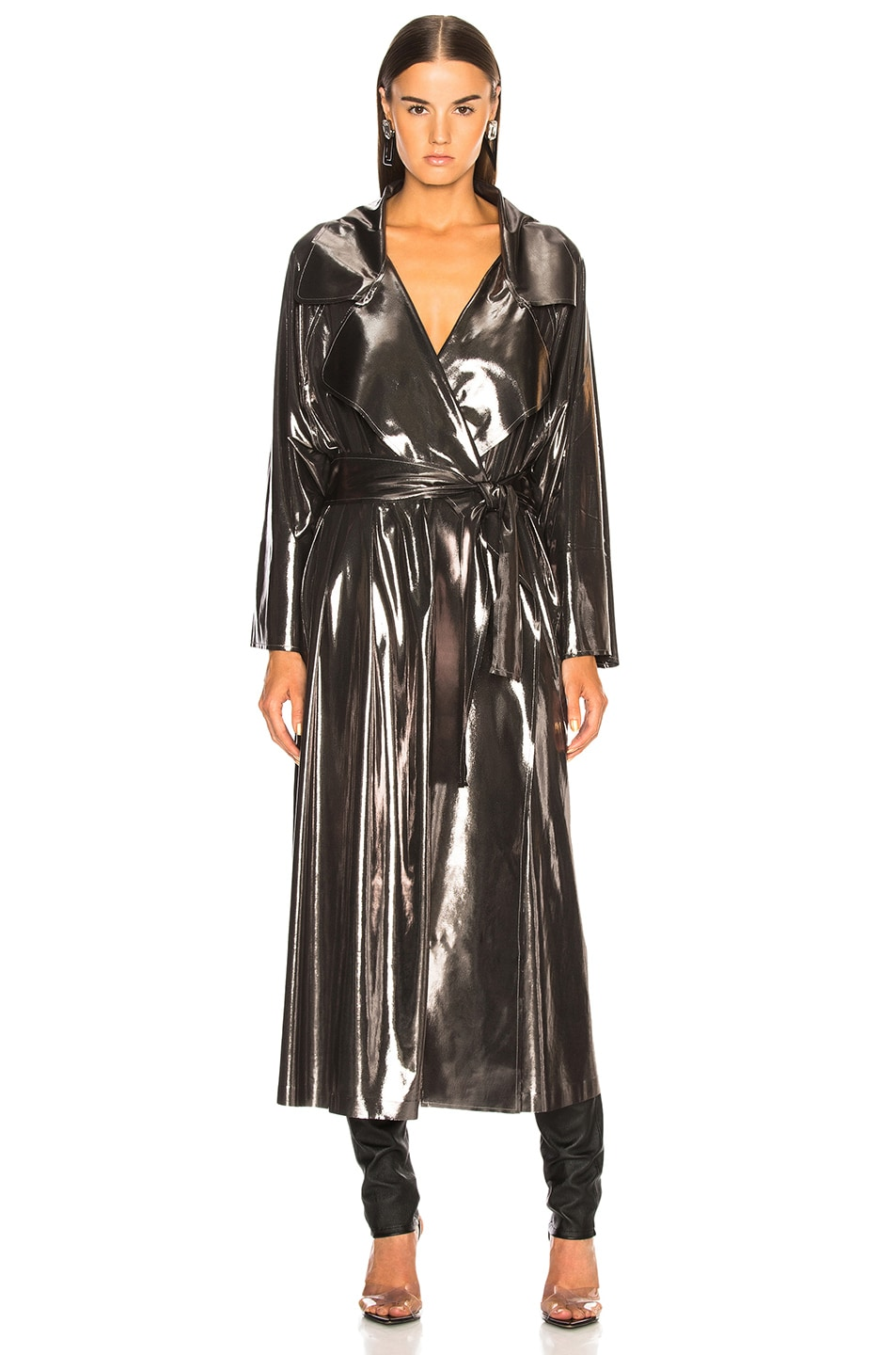 Image 2 of Norma Kamali Dolman 80's Flared Midcalf Trench in Gunmetal
