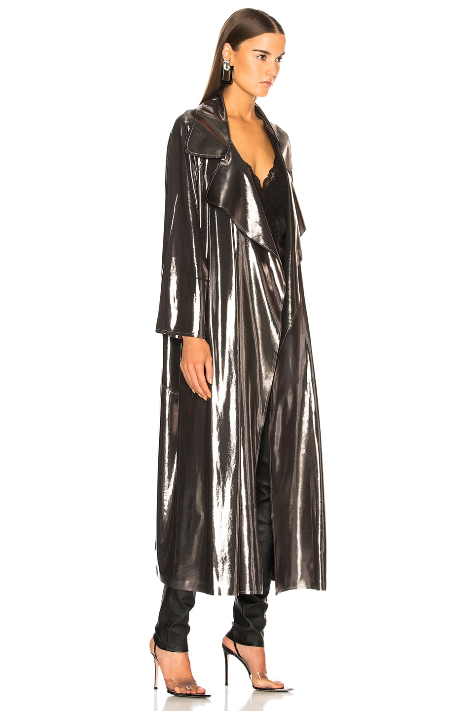 Image 3 of Norma Kamali Dolman 80's Flared Midcalf Trench in Gunmetal
