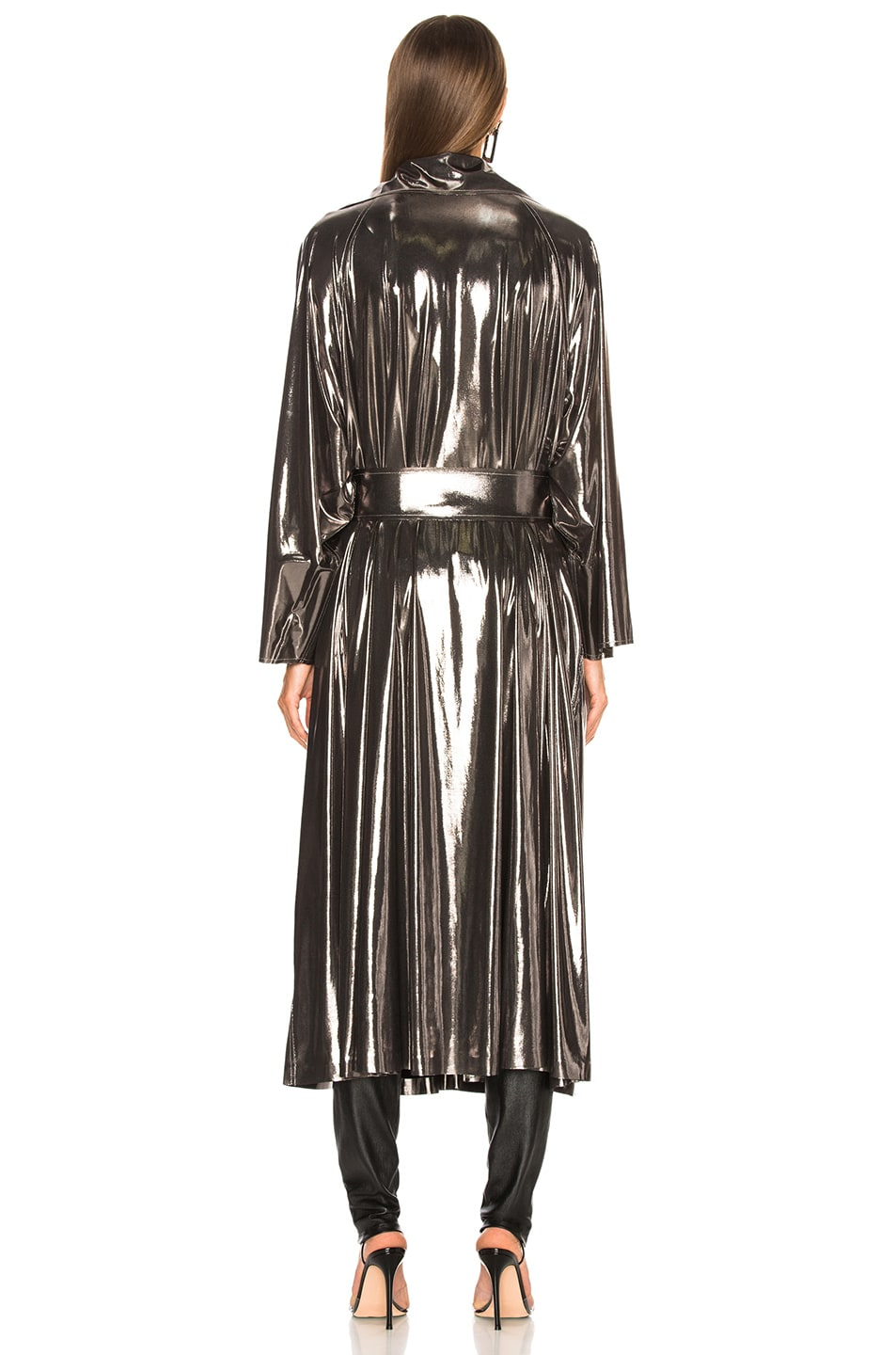 Image 4 of Norma Kamali Dolman 80's Flared Midcalf Trench in Gunmetal