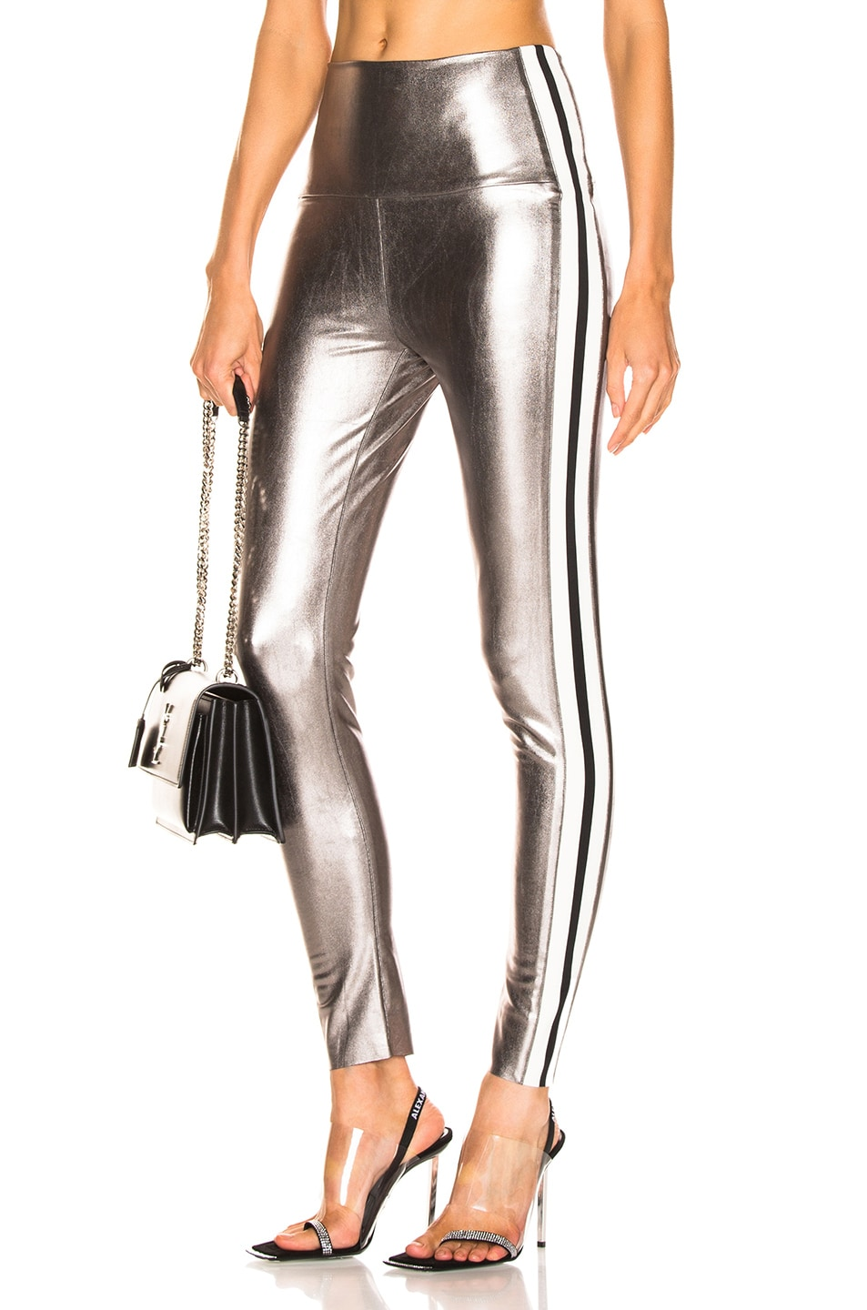 Image 1 of Norma Kamali Side Stripe Legging in Gunmetal & Engineered Stripe
