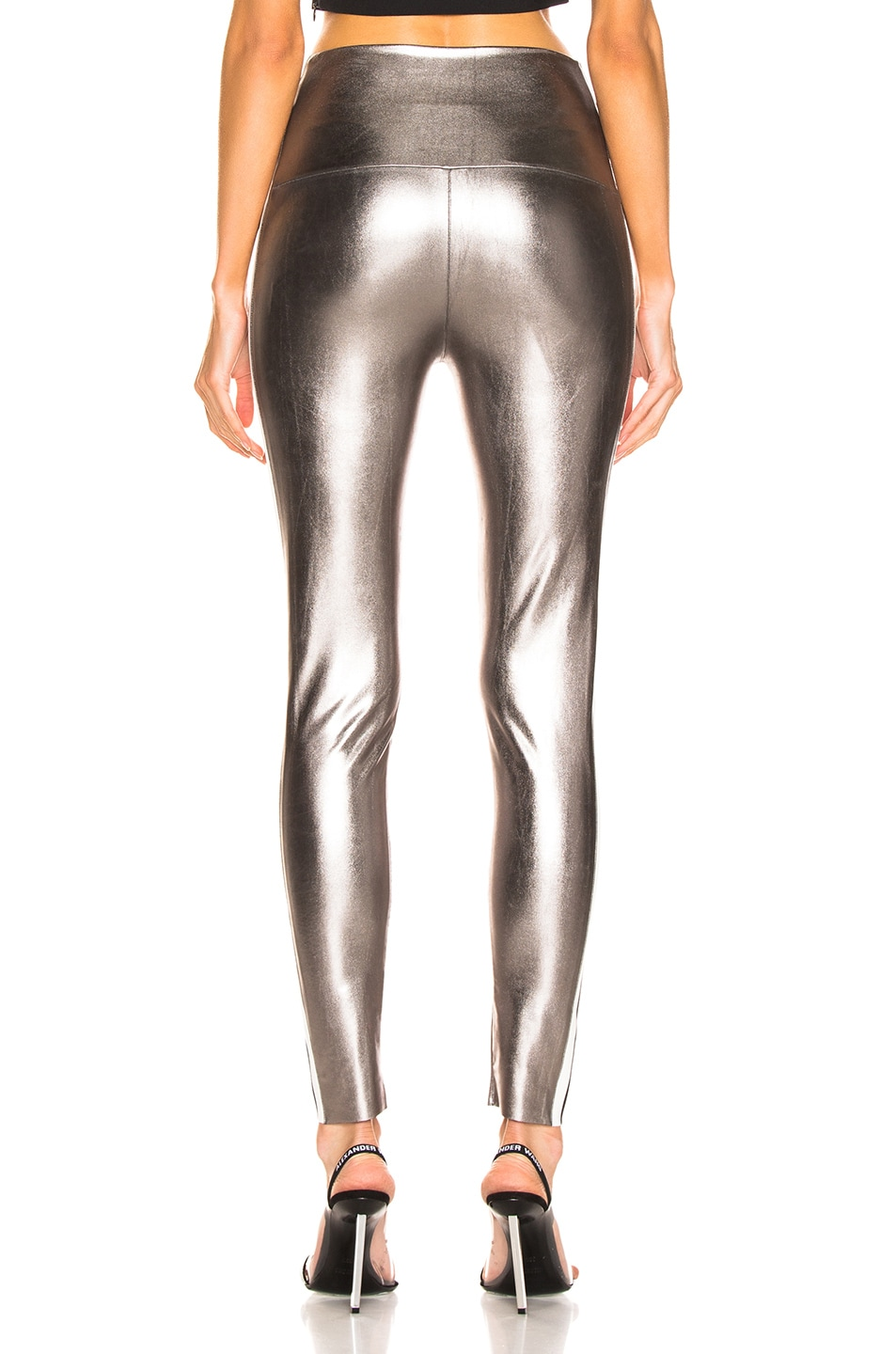 Image 4 of Norma Kamali Side Stripe Legging in Gunmetal & Engineered Stripe