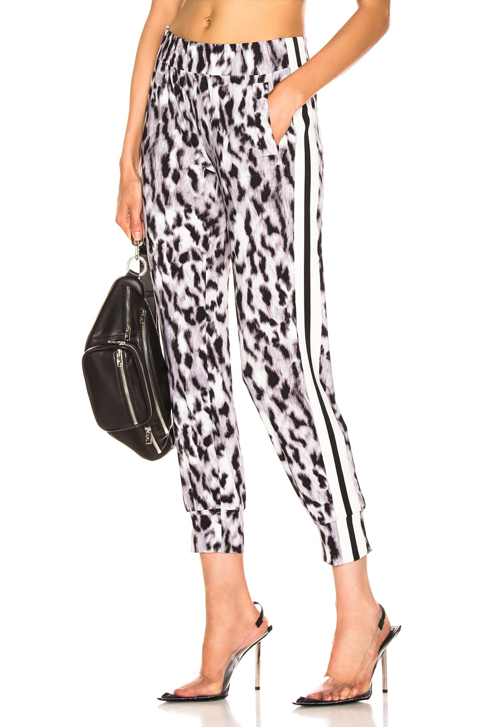 Image 1 of Norma Kamali Side Stripe Jog Pant in Abstract Leopard & Engineered Stripe