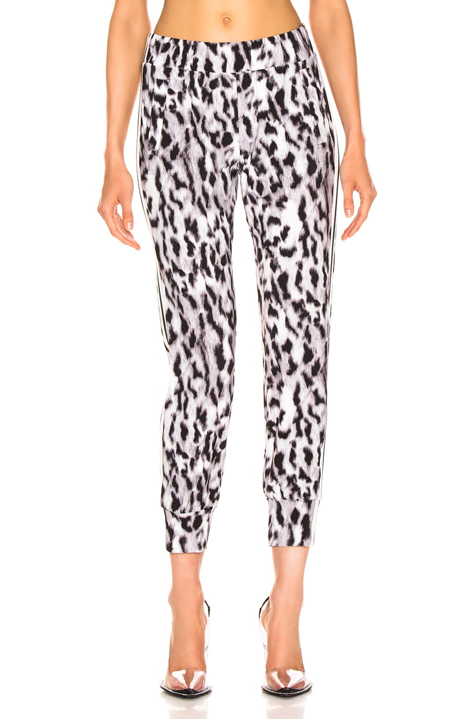 Image 2 of Norma Kamali Side Stripe Jog Pant in Abstract Leopard & Engineered Stripe