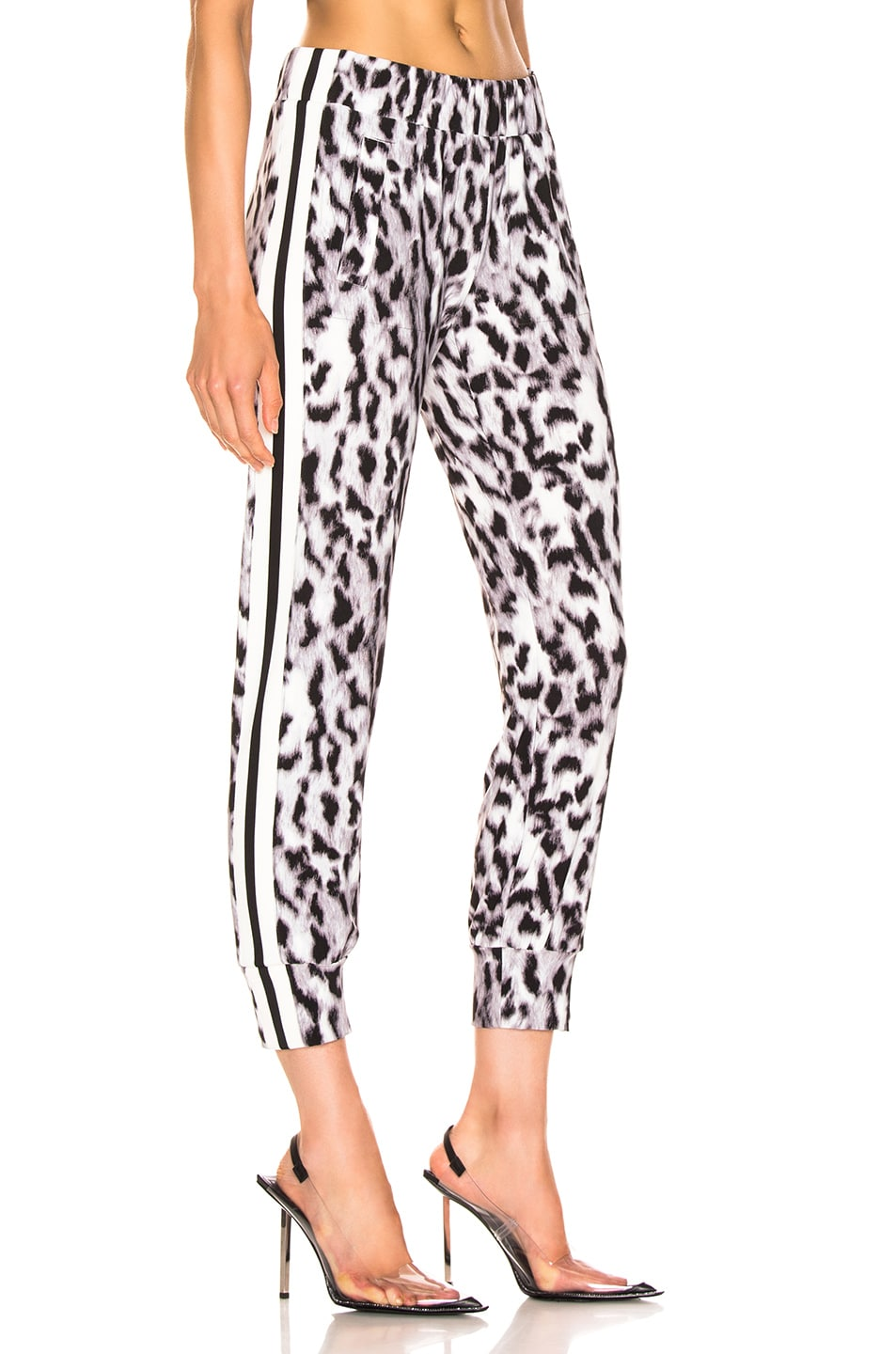Image 3 of Norma Kamali Side Stripe Jog Pant in Abstract Leopard & Engineered Stripe