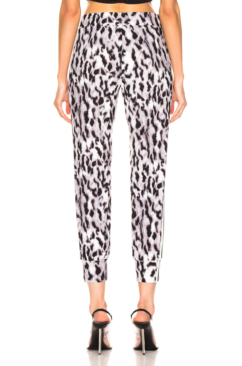 Image 4 of Norma Kamali Side Stripe Jog Pant in Abstract Leopard & Engineered Stripe