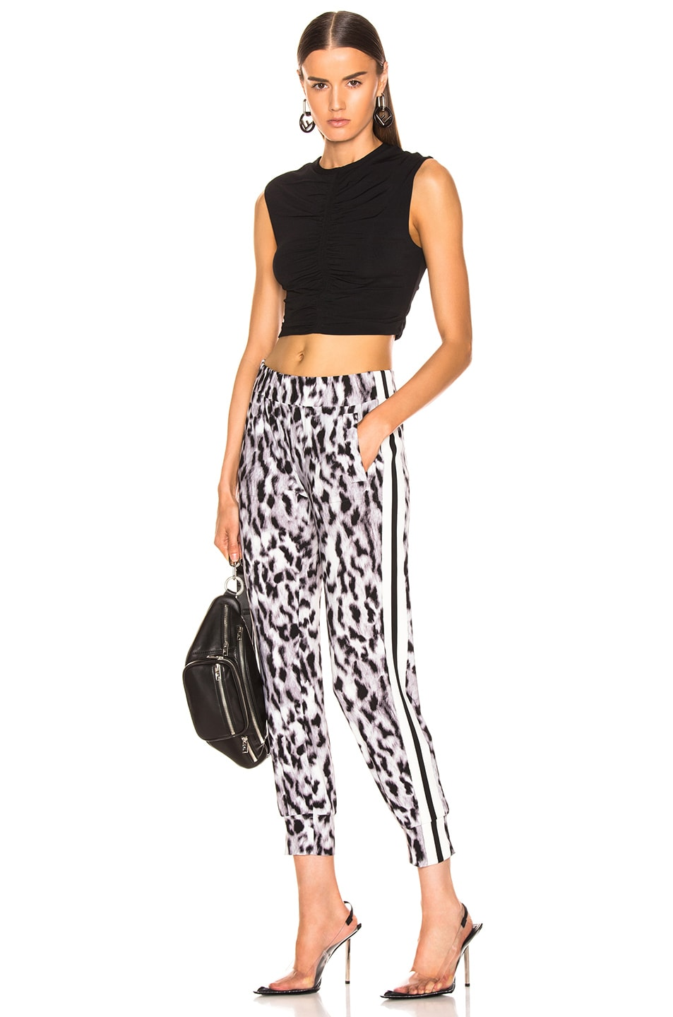 Image 5 of Norma Kamali Side Stripe Jog Pant in Abstract Leopard & Engineered Stripe