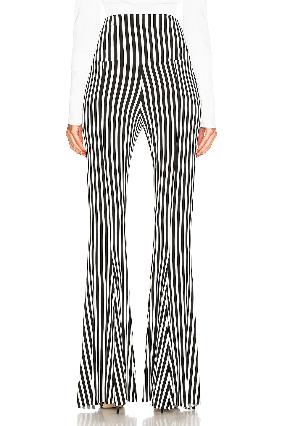 Image 3 of Norma Kamali Fishtail Pant in Uneven Stripe