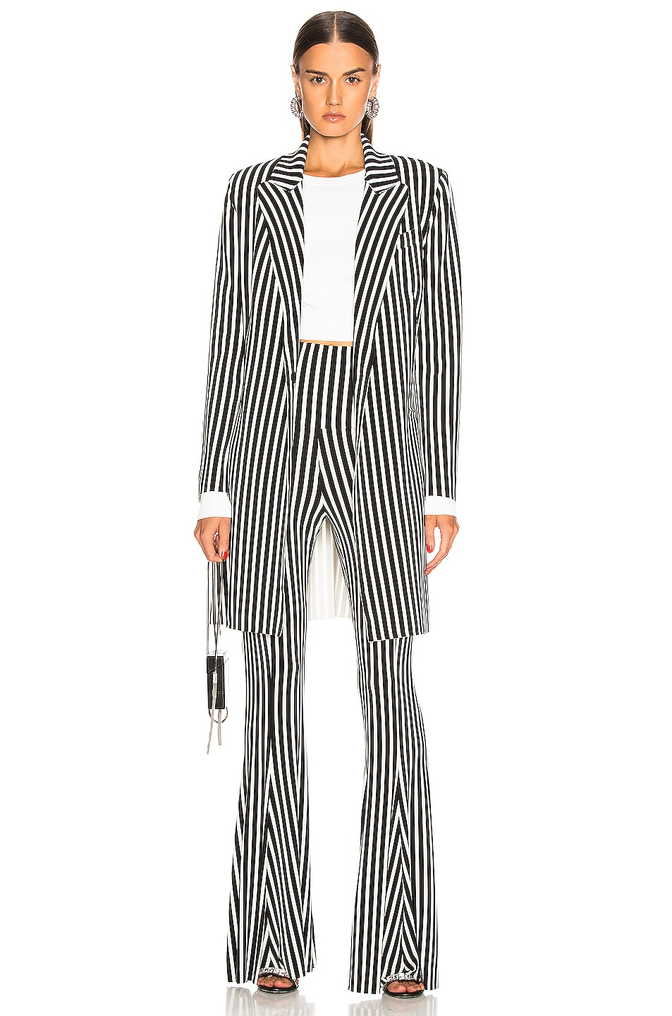 Image 4 of Norma Kamali Fishtail Pant in Uneven Stripe