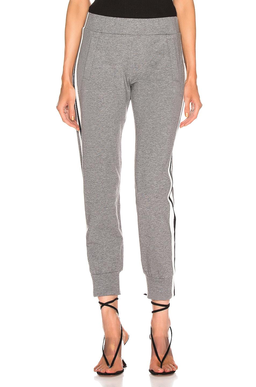 Image 2 of Norma Kamali Side Stripe Jog Pant in Medium Heather Grey & Engineered Stripe