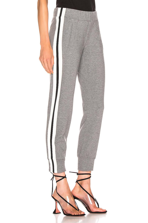 Image 3 of Norma Kamali Side Stripe Jog Pant in Medium Heather Grey & Engineered Stripe