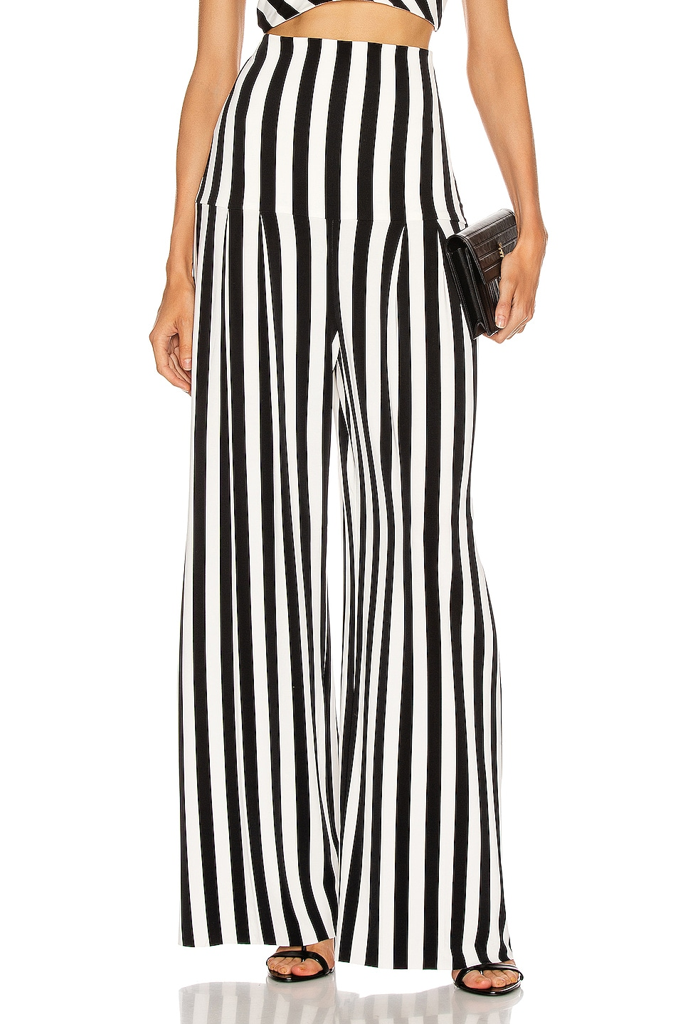 Image 1 of Norma Kamali High Waist Pleat Pant in Stripe