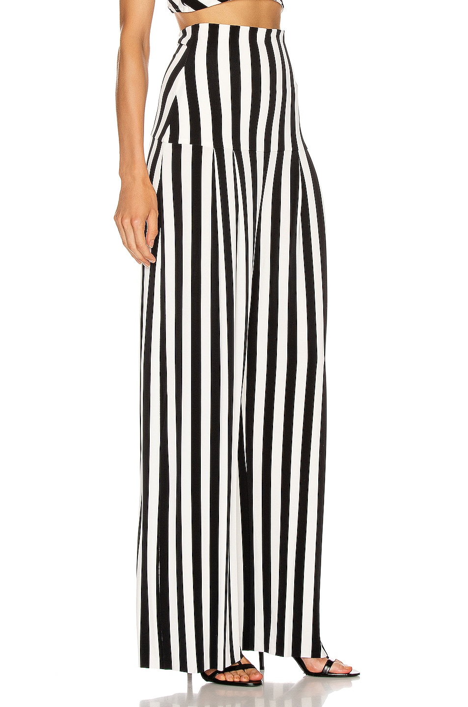 Image 2 of Norma Kamali High Waist Pleat Pant in Stripe