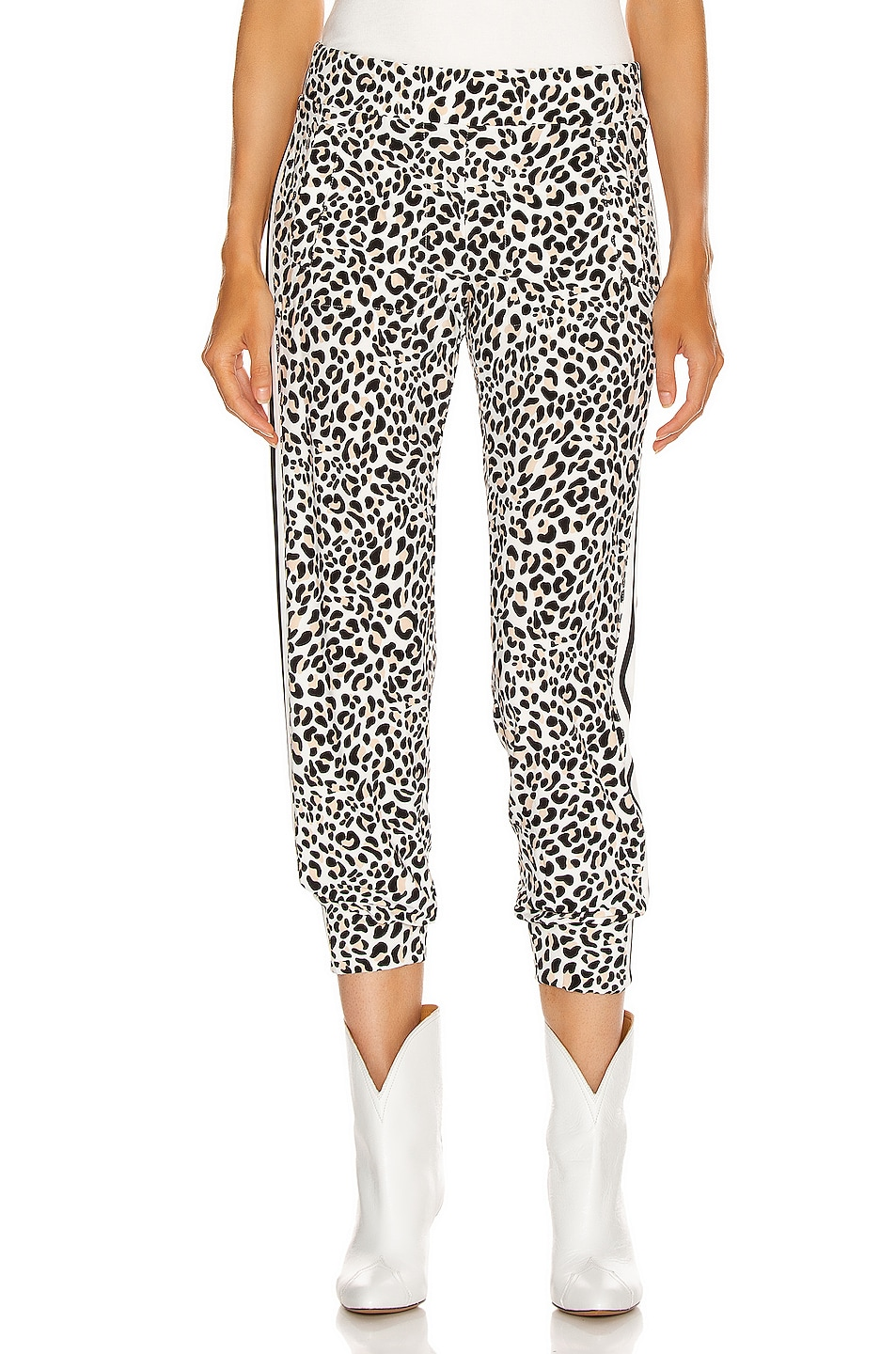 Image 2 of Norma Kamali Side Stripe Jog Pant in Baby Leopard & Offset Stripe