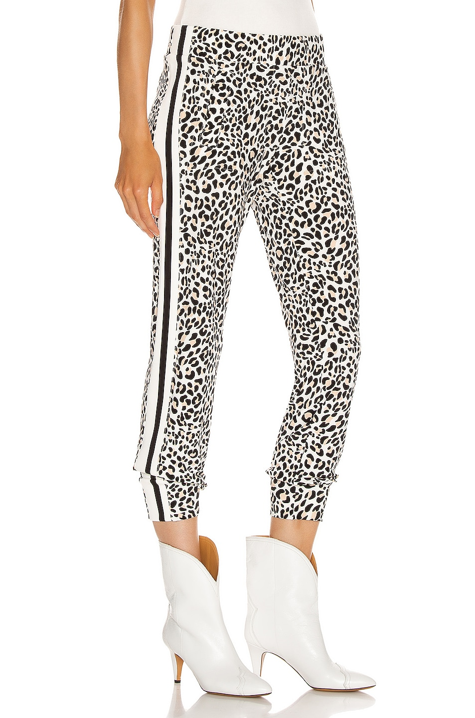Image 3 of Norma Kamali Side Stripe Jog Pant in Baby Leopard & Offset Stripe