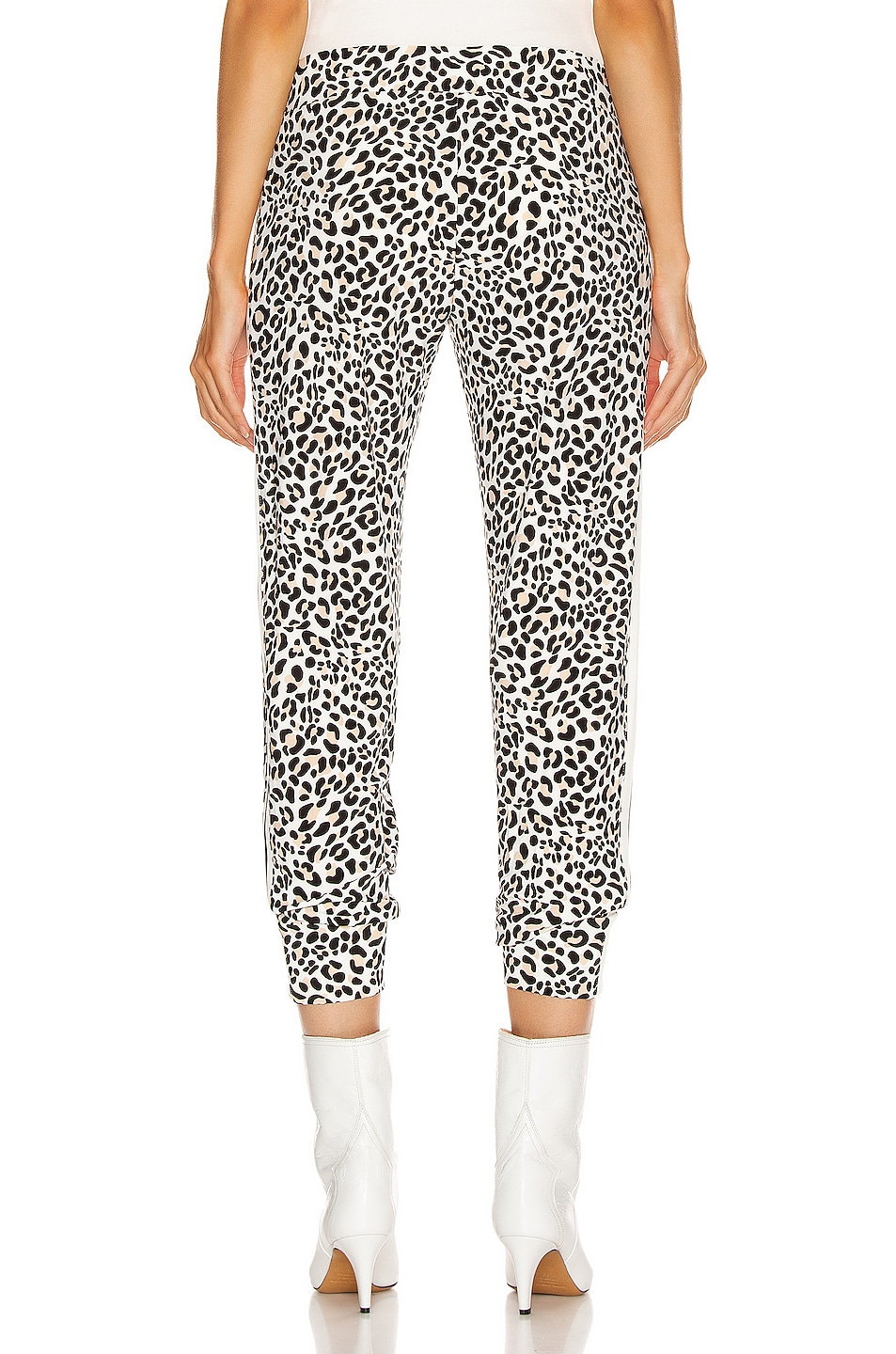 Image 4 of Norma Kamali Side Stripe Jog Pant in Baby Leopard & Offset Stripe