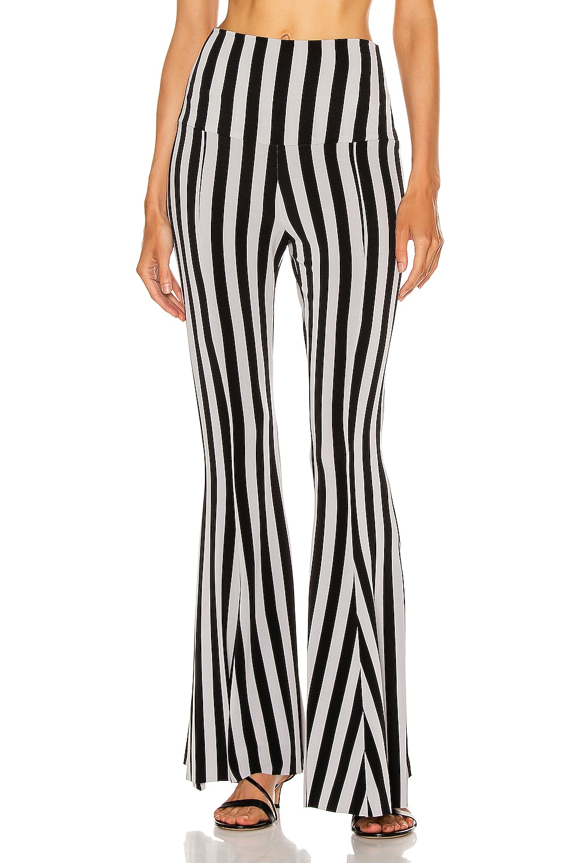 Image 1 of Norma Kamali Fishtail Pant in Grey & Black Stripe