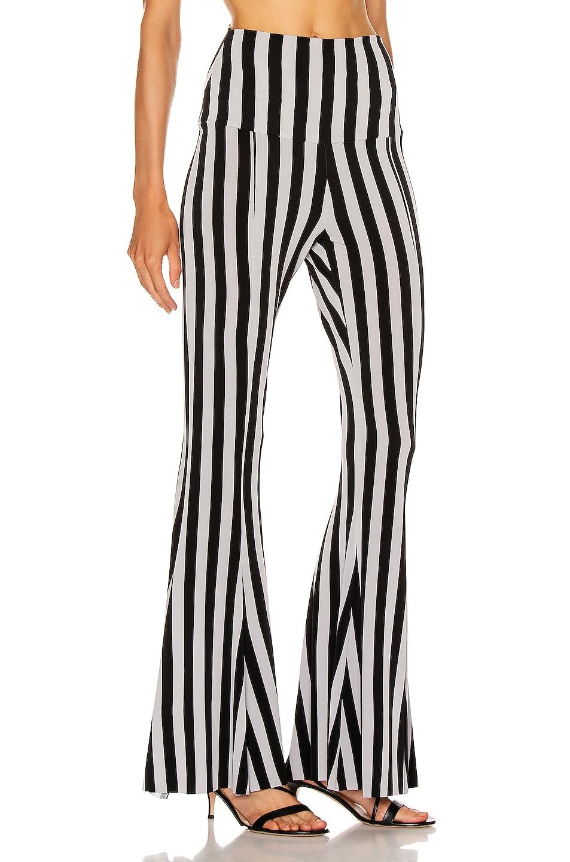 Image 2 of Norma Kamali Fishtail Pant in Grey & Black Stripe