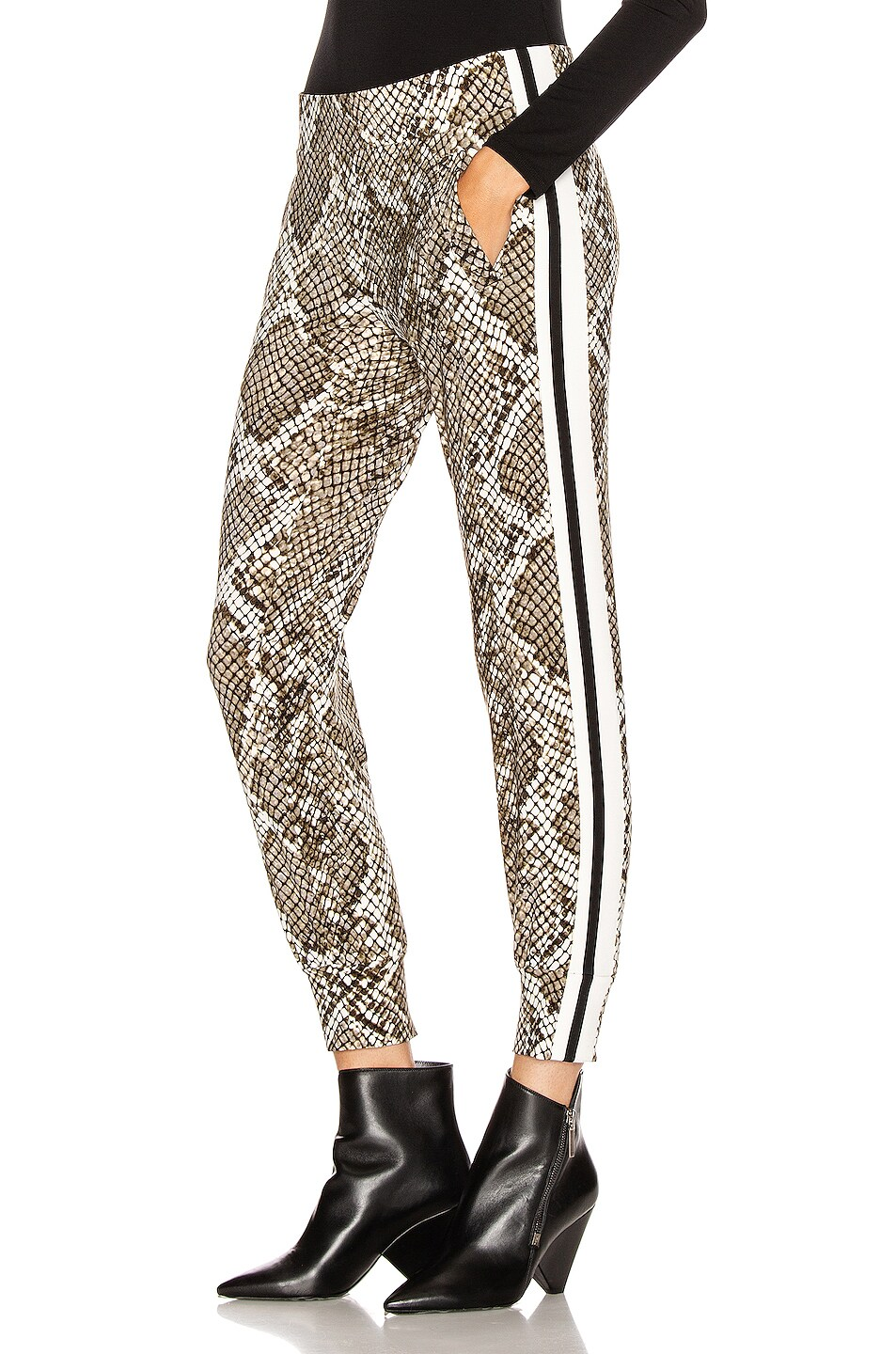 Image 1 of Norma Kamali Side Stripe Jog Pant in Scale Python & Offset Stripe