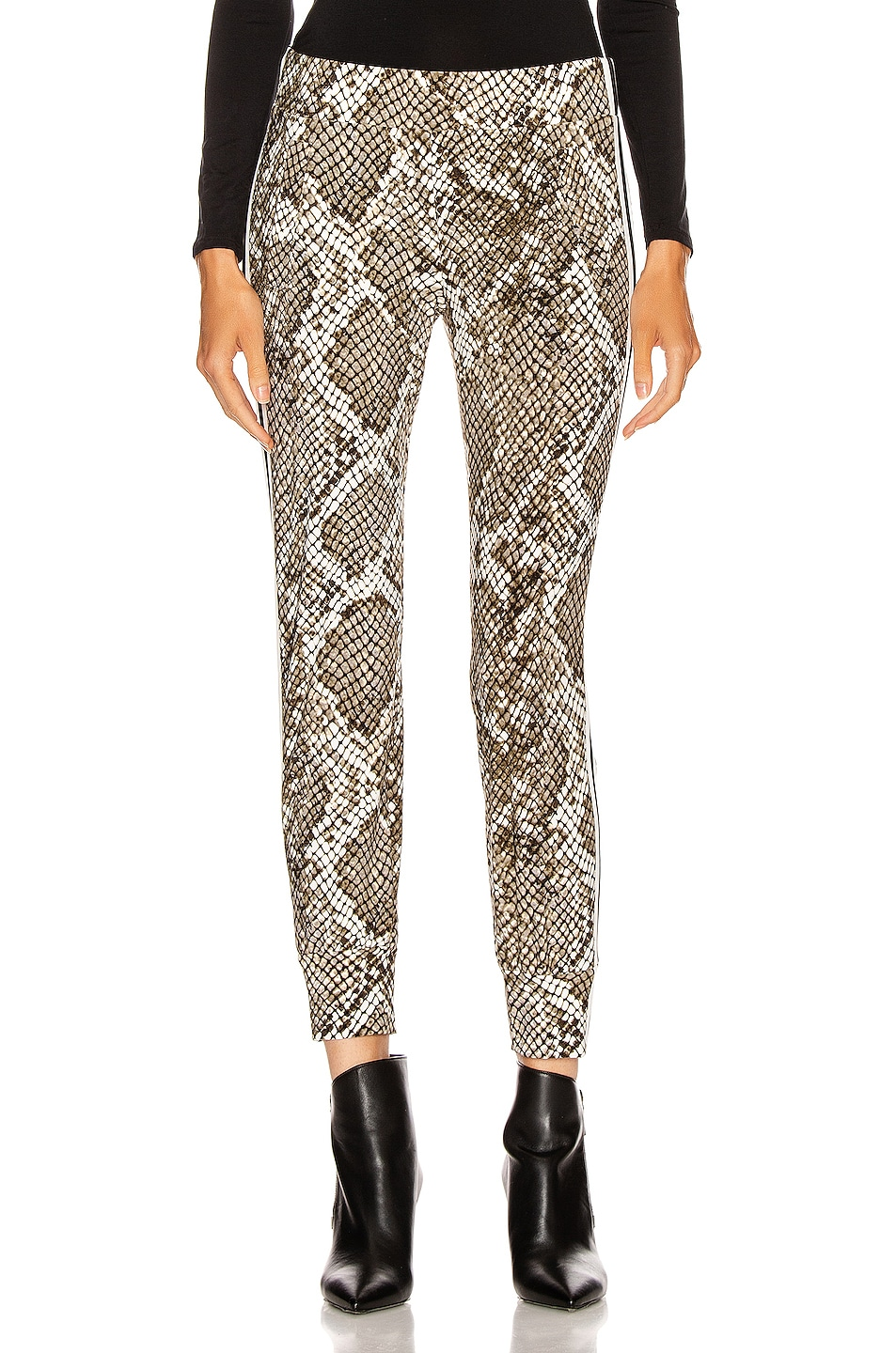 Image 2 of Norma Kamali Side Stripe Jog Pant in Scale Python & Offset Stripe