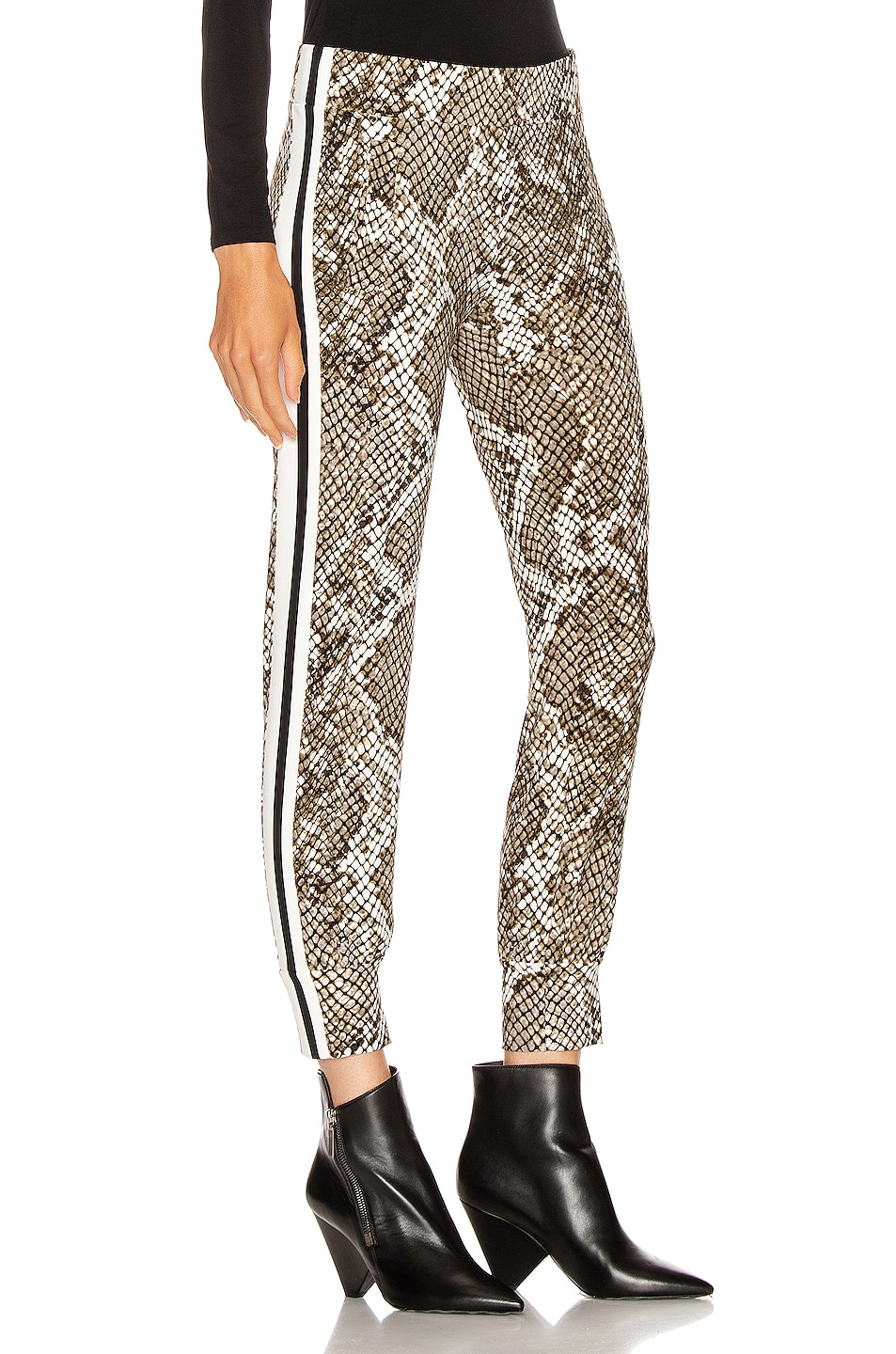 Image 3 of Norma Kamali Side Stripe Jog Pant in Scale Python & Offset Stripe
