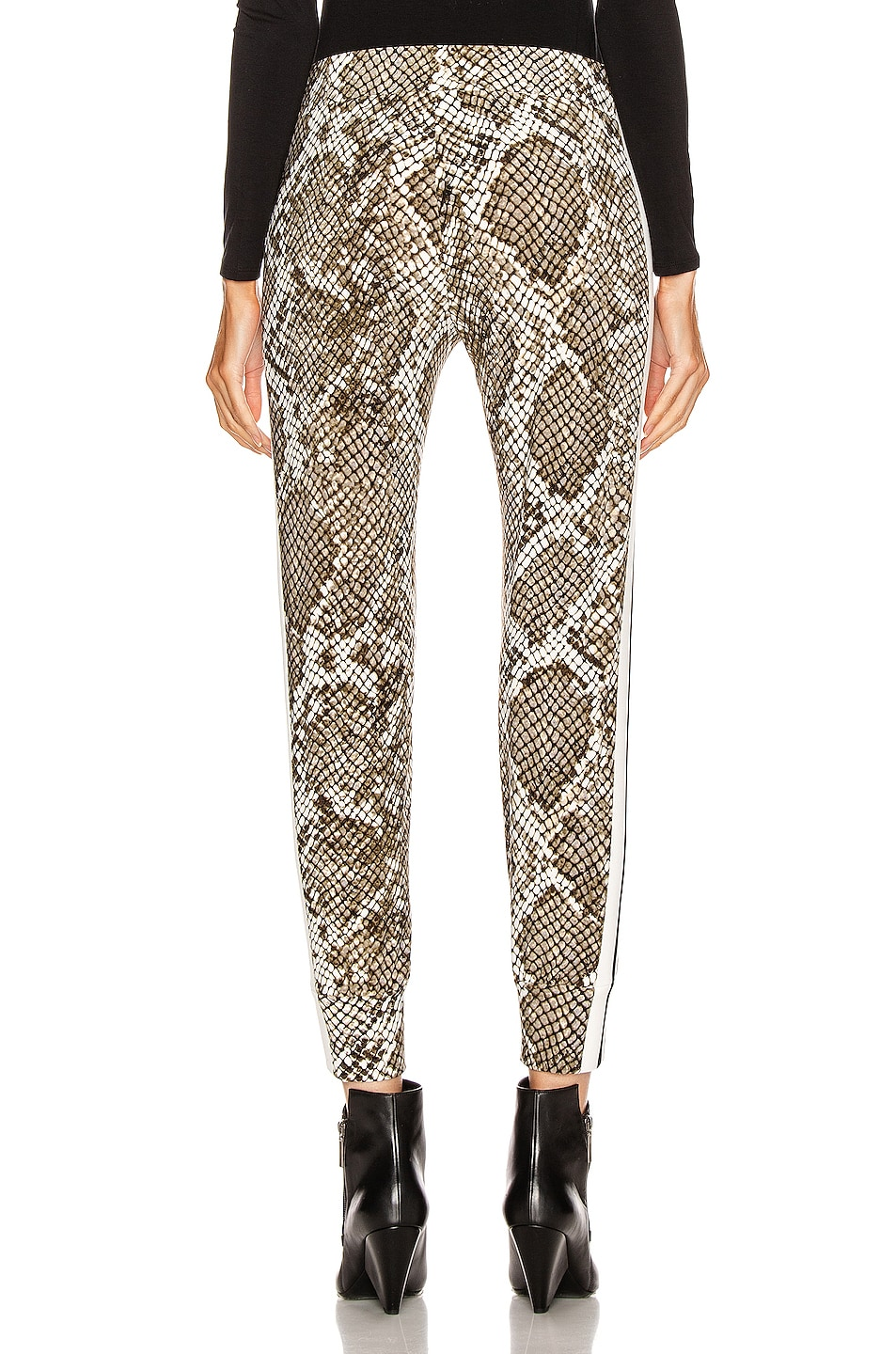 Image 4 of Norma Kamali Side Stripe Jog Pant in Scale Python & Offset Stripe