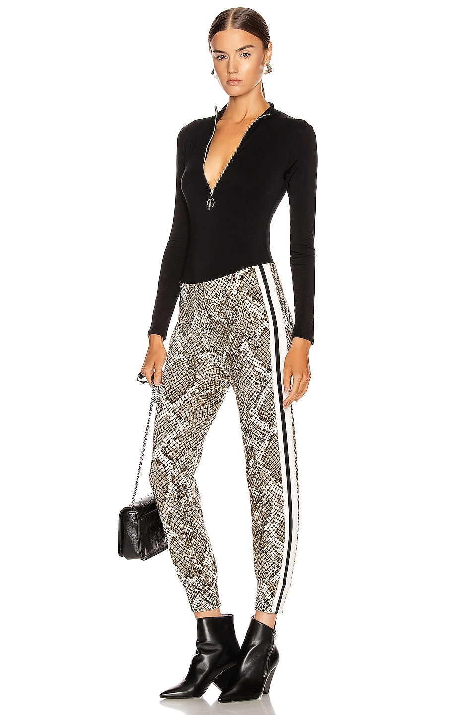 Image 5 of Norma Kamali Side Stripe Jog Pant in Scale Python & Offset Stripe