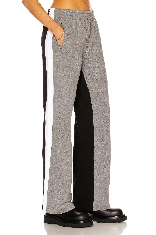 Image 1 of Norma Kamali Side Stripe Boyfriend Sweatpant in Medium Heather Grey, White, & Black