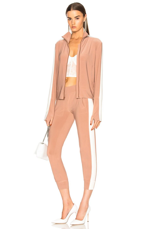 c6438a311f0d Image 5 of Norma Kamali Side Stripe Jog Pant in Rose Gold   Ivory