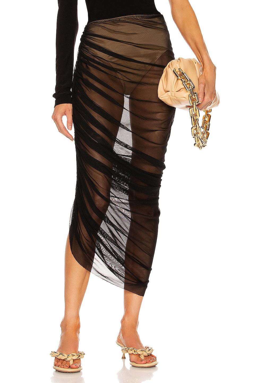 Image 1 of Norma Kamali Diana Long Skirt in Black Mesh & Nude