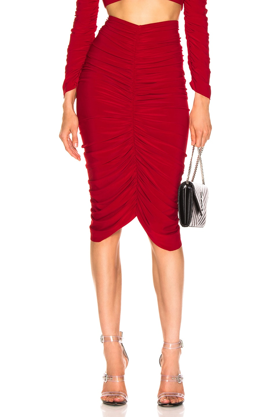Image 1 of Norma Kamali Shirred Skirt in Red
