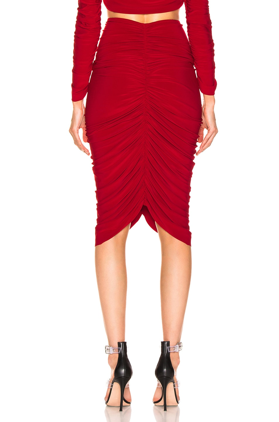 Image 3 of Norma Kamali Shirred Skirt in Red