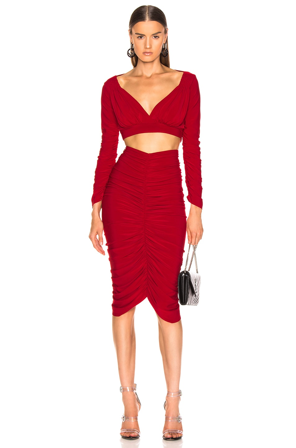 Image 4 of Norma Kamali Shirred Skirt in Red