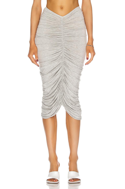Image 1 of Norma Kamali Shirred Skirt in Light Grey