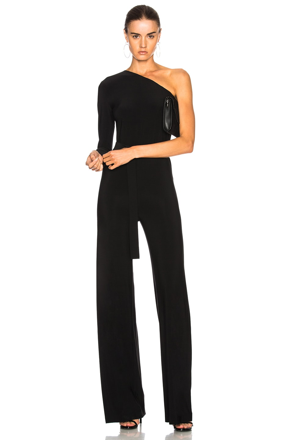 58959c6a9da0 Image 1 of Norma Kamali One Shoulder Belted Jumpsuit in Black