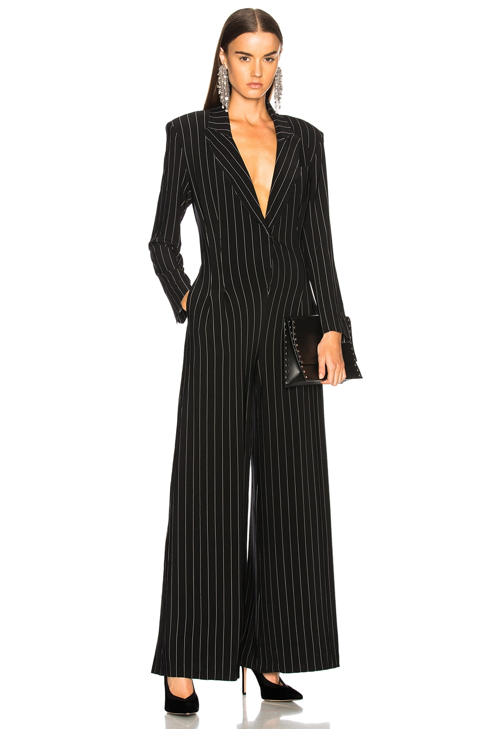 Image 1 of Norma Kamali Elephant Jumpsuit in Black Pinstripe