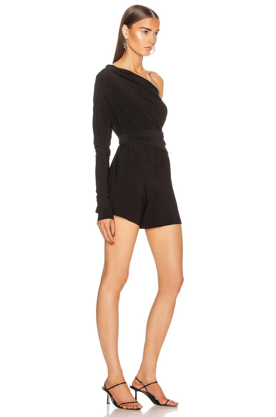 Image 4 of Norma Kamali TY Front All In One Strapless Jumpshort in Black