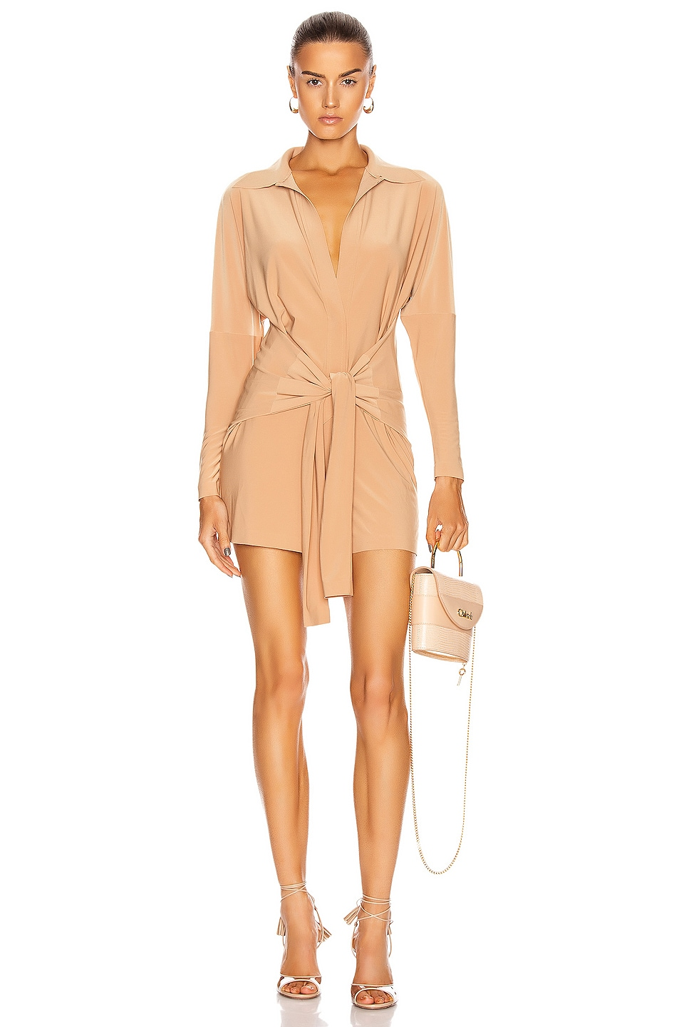 Image 1 of Norma Kamali Tie Front NK Shirt Jumpshort in Nude