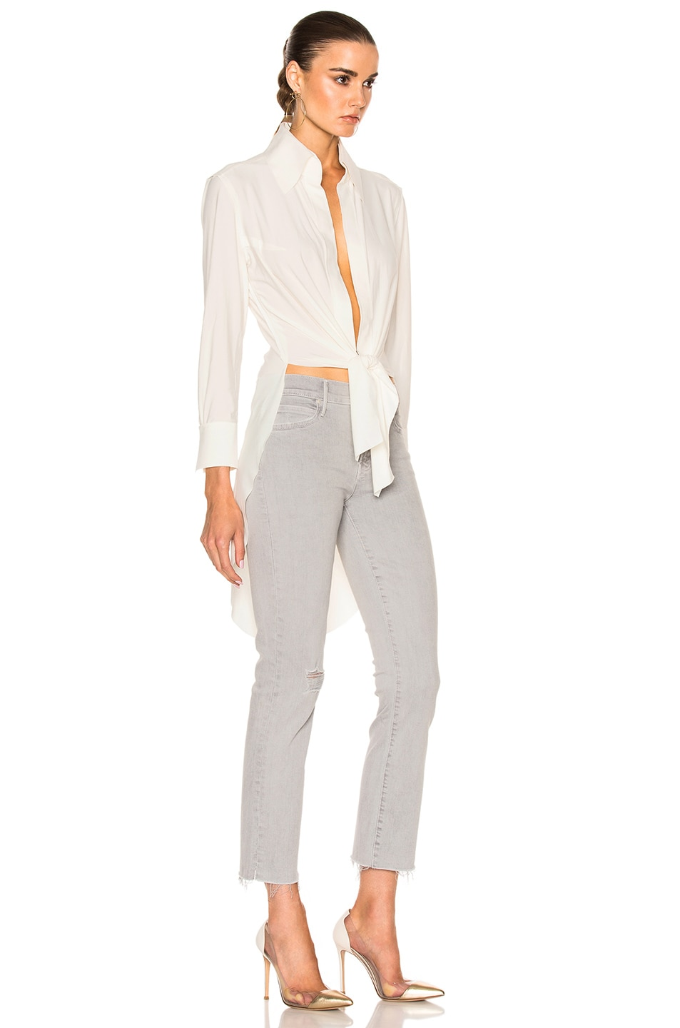 72c440a6577d Image 3 of Norma Kamali Tie Front Shirt in Ivory