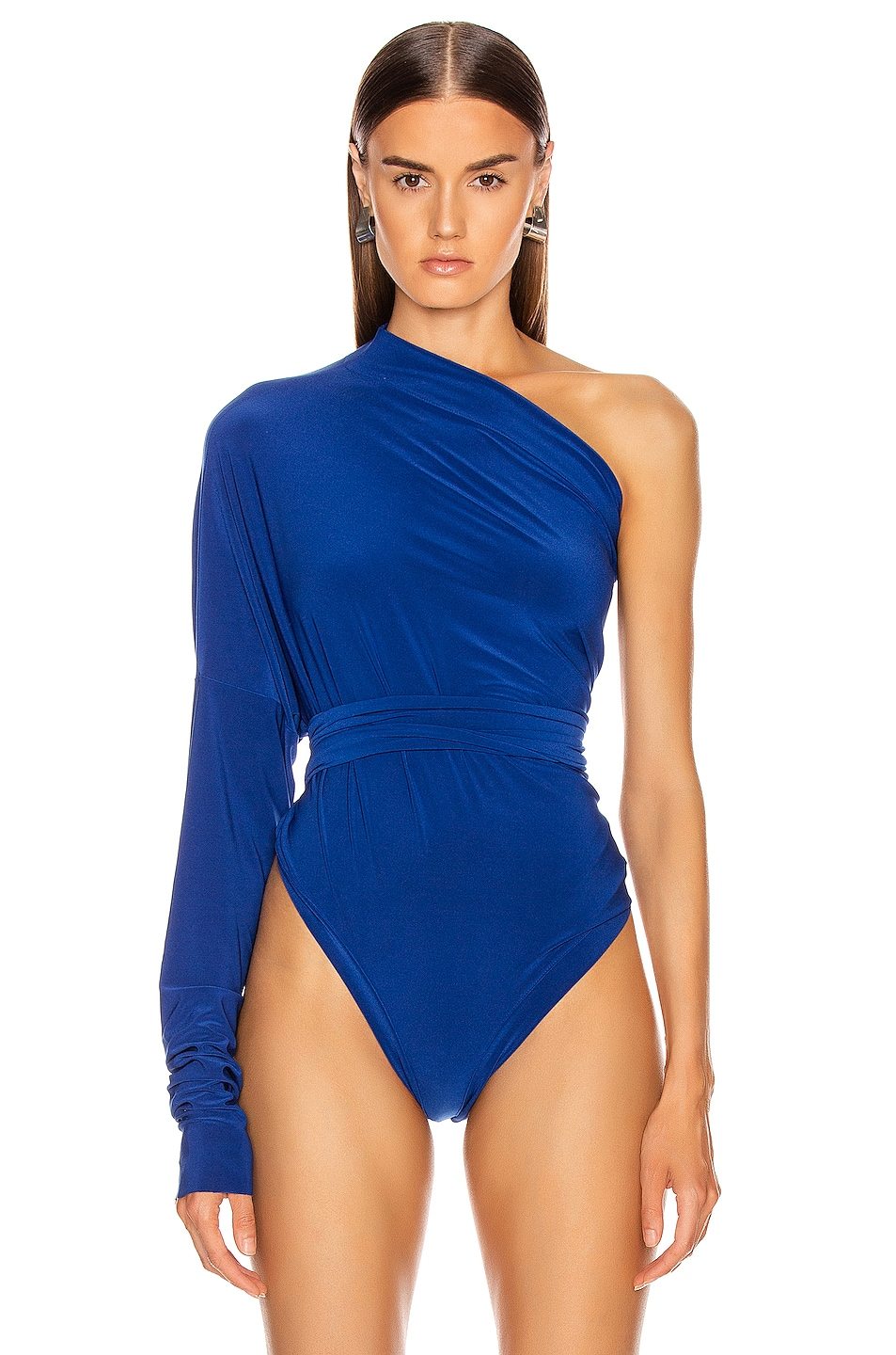Image 2 of Norma Kamali All In One Bodysuit in Berry Blue