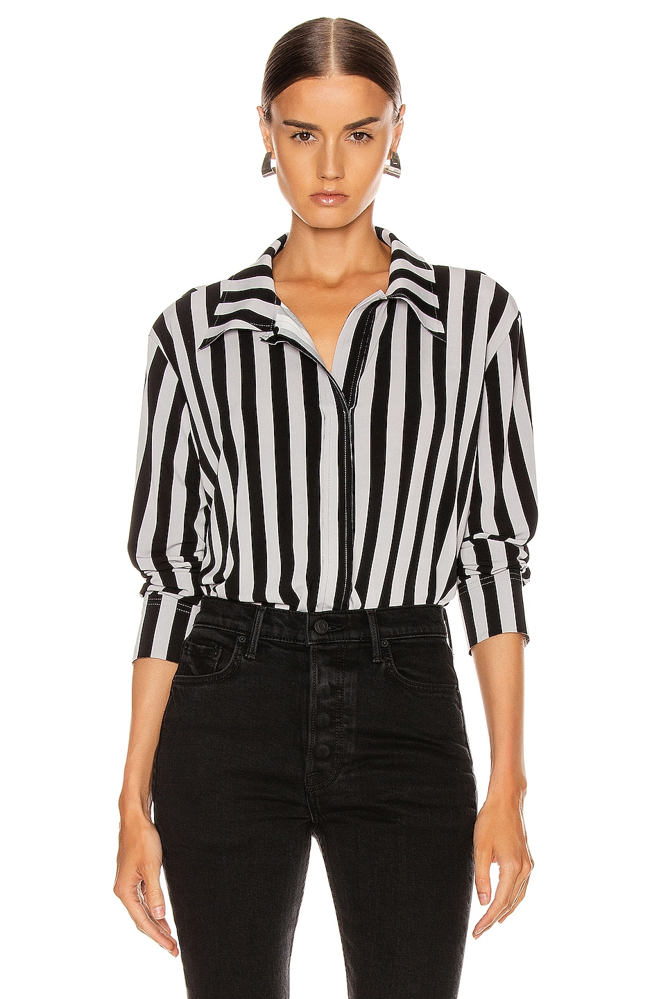 Image 1 of Norma Kamali Boyfriend NK Top in Grey & Black Stripe